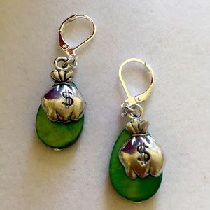 """Money Bags"" on Green earrings, Handmade a…"